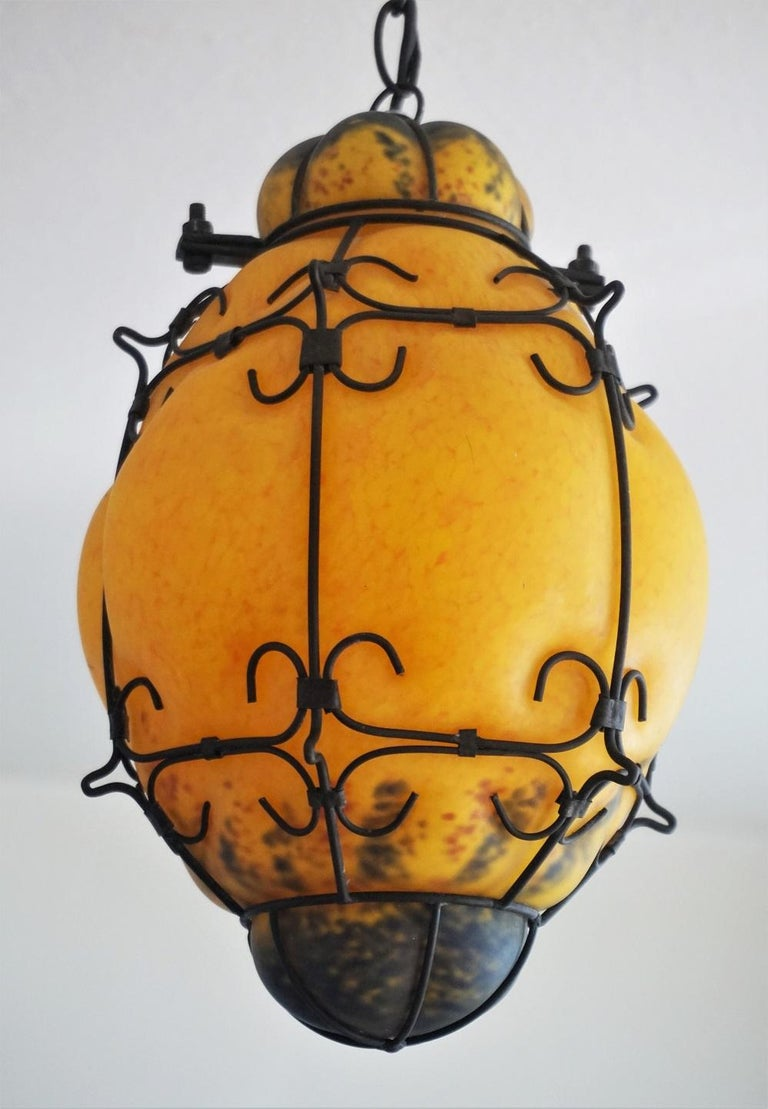 Murano Handcrafted Colored Glass Wrought Iron Pendant or Lantern, Venice, Italy In Good Condition For Sale In Frankfurt am Main, DE