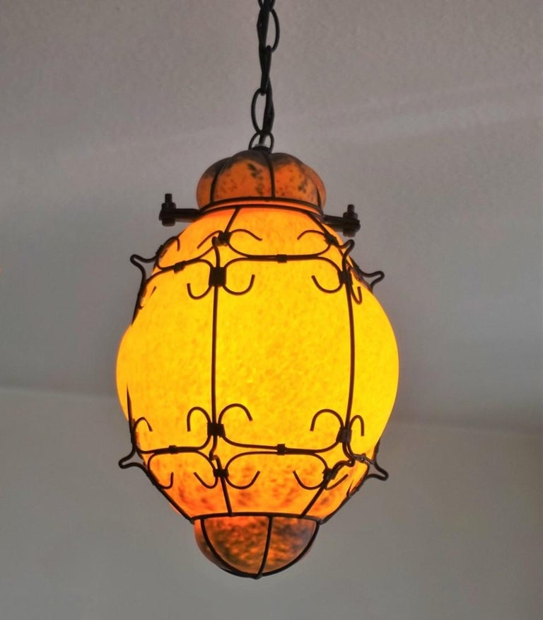Metal Murano Handcrafted Colored Glass Wrought Iron Pendant or Lantern, Venice, Italy For Sale