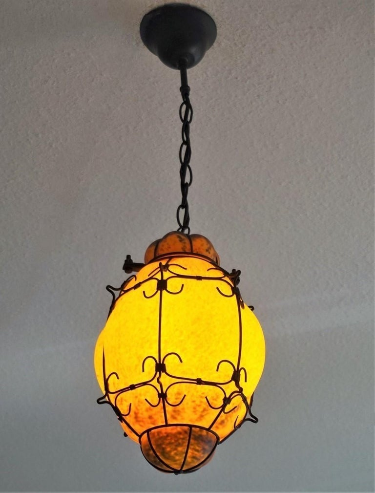 Murano Handcrafted Colored Glass Wrought Iron Pendant or Lantern, Venice, Italy For Sale 1
