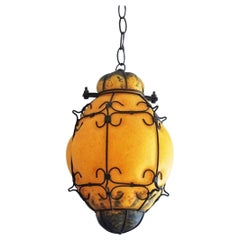 Murano Handcrafted Colored Glass Wrought Iron Pendant or Lantern, Venice, Italy