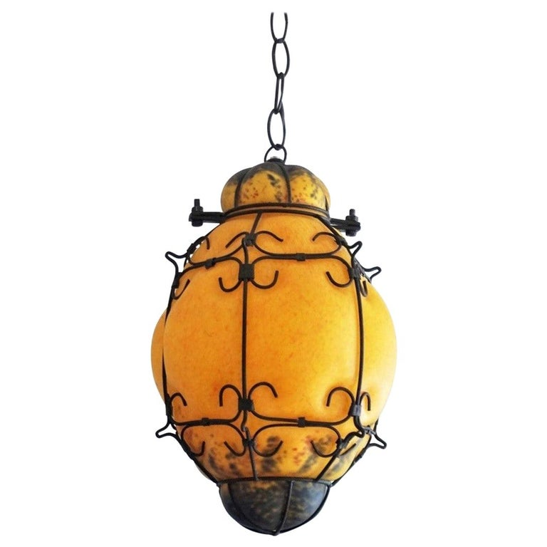 Murano Handcrafted Colored Glass Wrought Iron Pendant or Lantern, Venice, Italy For Sale