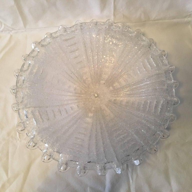 Metal Murano Ice Glass Flush Mount Lamp For Sale