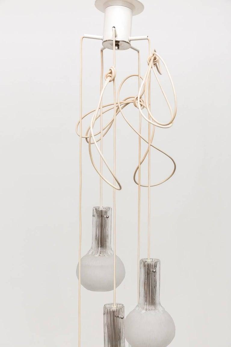 Enameled Murano Inspired Multi Ice Glass Spider Chandelier For Sale