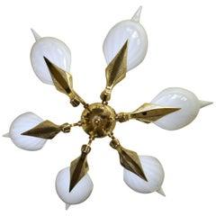 Murano Italian Franco Luce Glass Leaf Pendant Light Chandelier