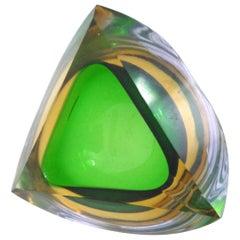 Murano Italian Glass Bowl Mandrurzzato Sommerso, Mid-1960s Flavio Poli