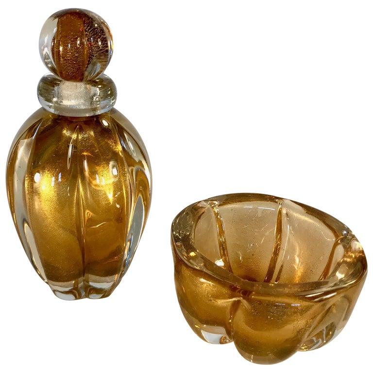 Murano Italian Glass Vanity Jar and Vase Set by Seguso For Sale