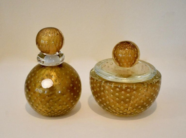 Murano Italian Glass Vanity Lidded Jar and Stoppered Vase Set by Seguso In Good Condition For Sale In Dallas, TX