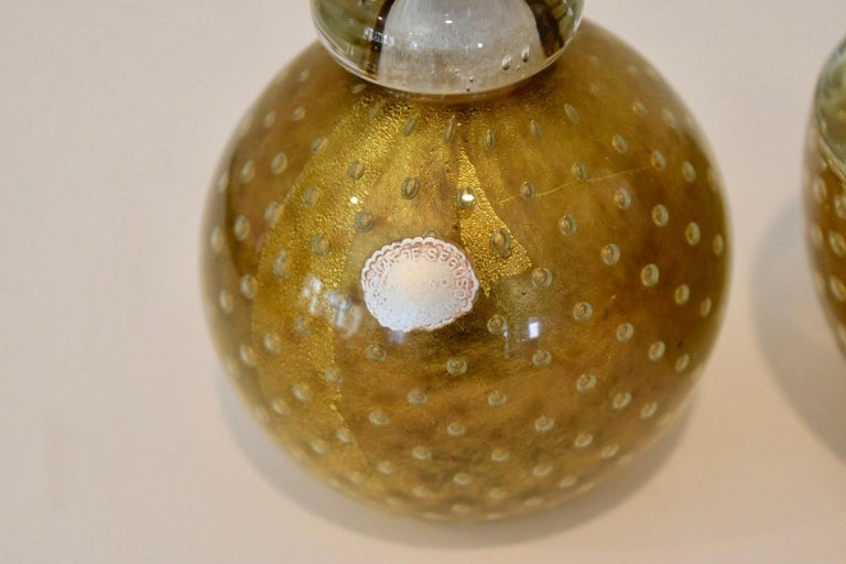 Mid-20th Century Murano Italian Glass Vanity Lidded Jar and Stoppered Vase Set by Seguso For Sale