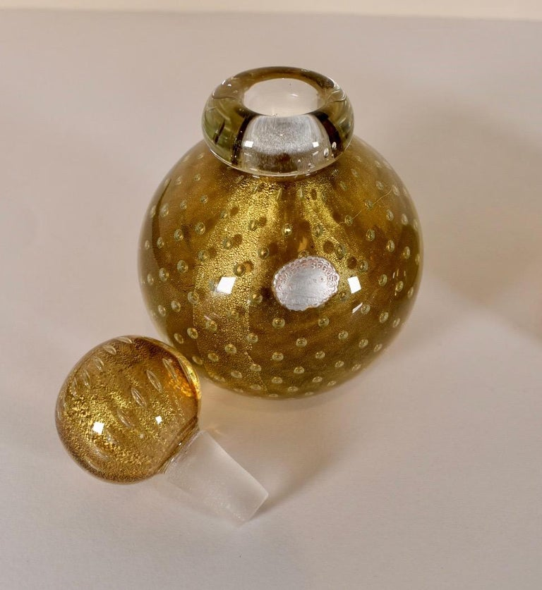 Murano Italian Glass Vanity Lidded Jar and Stoppered Vase Set by Seguso For Sale 2