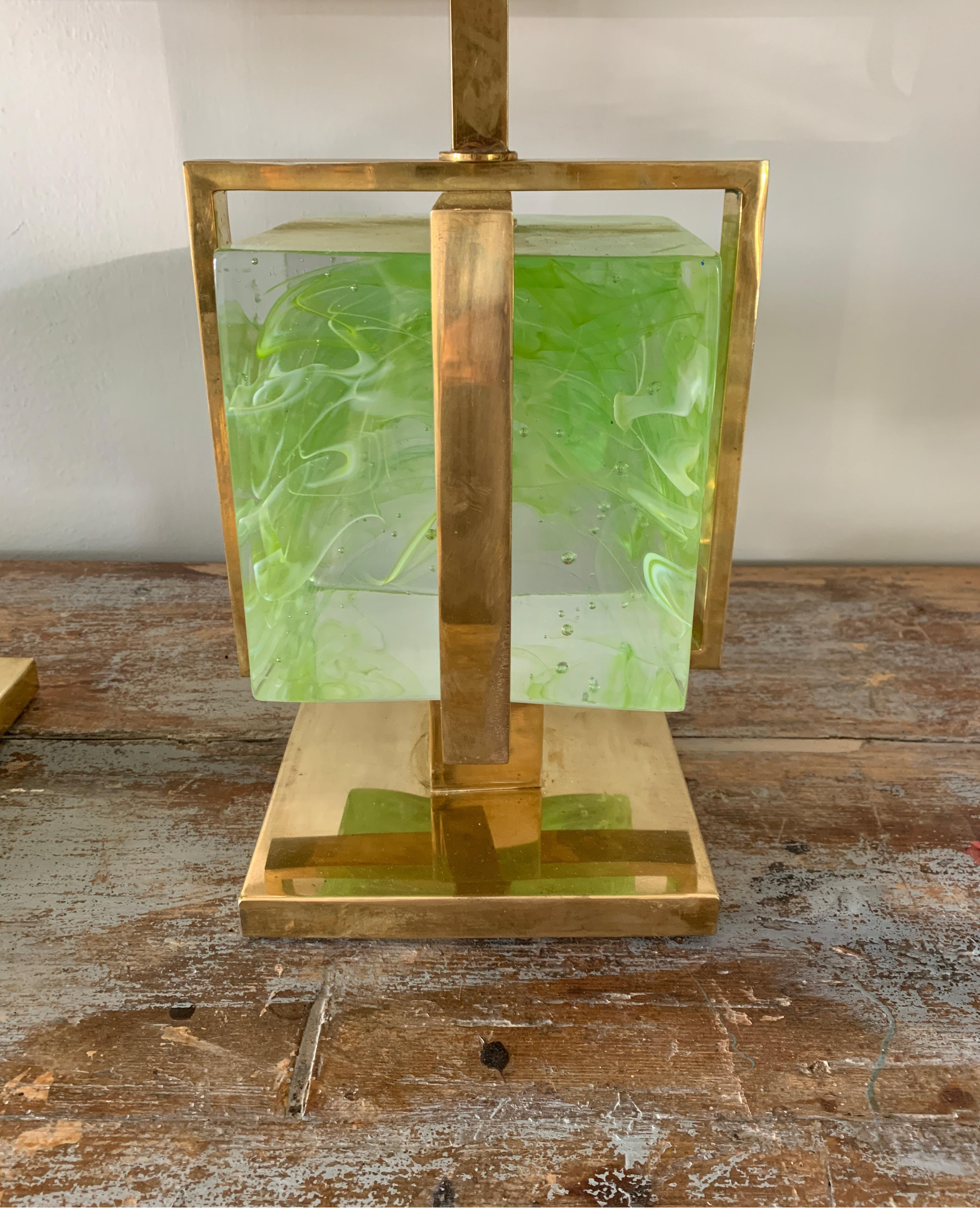 Murano Italian Green Apple Glass Block