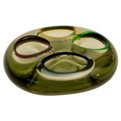 Murano Italian Green Glass Ashtray
