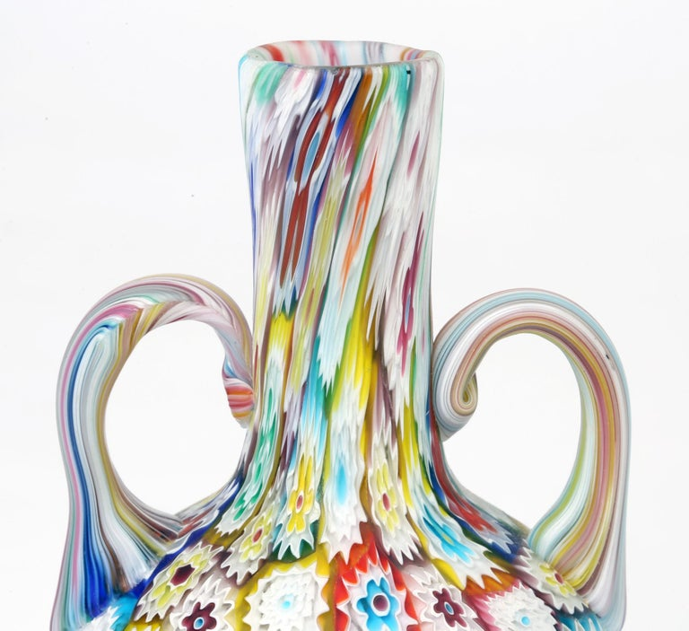 Murano Italian Hand Blown Twin Handled Bottle Shaped Millefiori Art Glass Vase For Sale 3