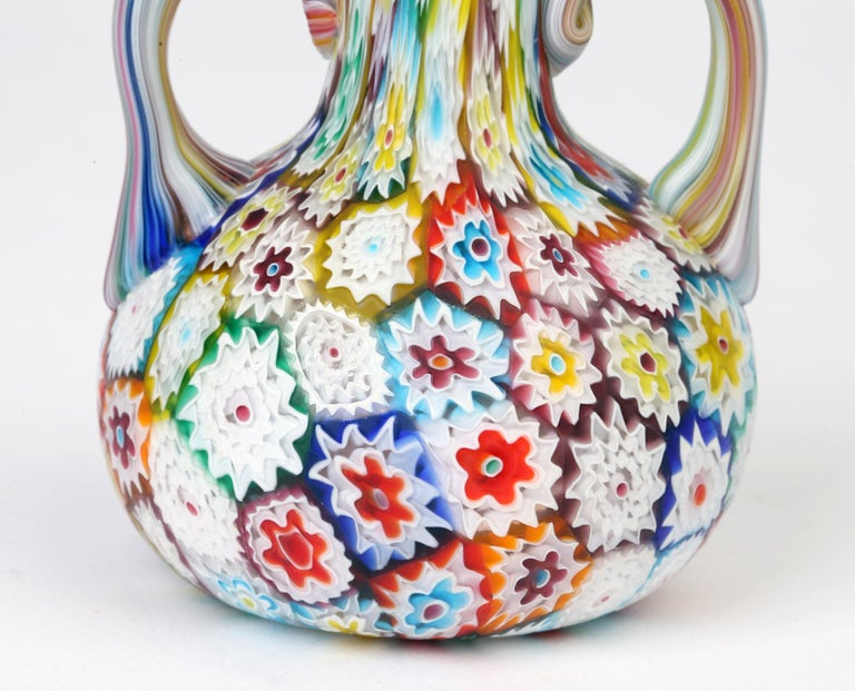 Murano Italian Hand Blown Twin Handled Bottle Shaped Millefiori Art Glass Vase For Sale 5