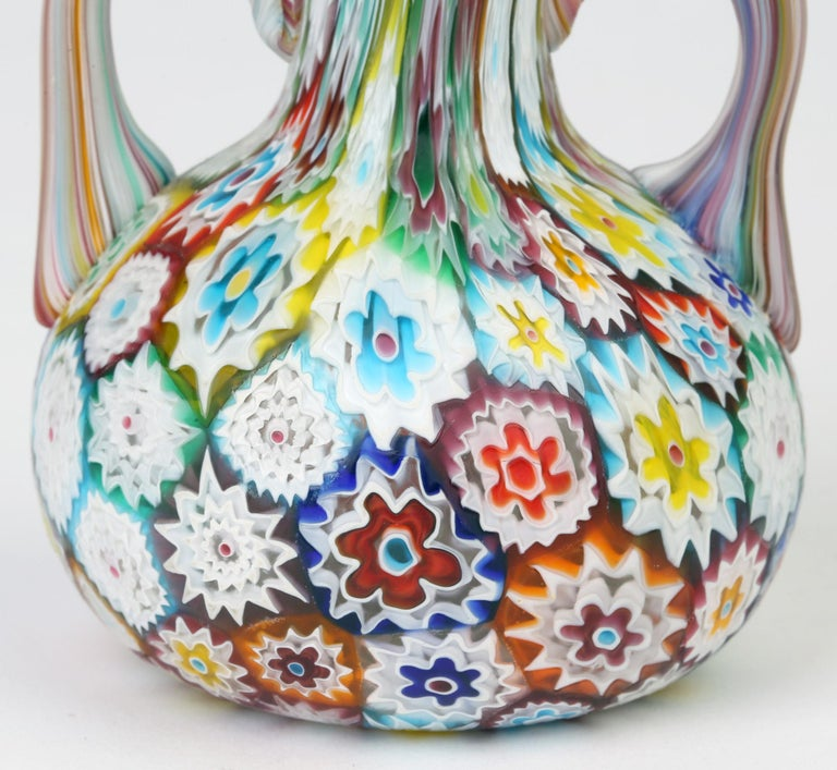 Hand-Crafted Murano Italian Hand Blown Twin Handled Bottle Shaped Millefiori Art Glass Vase For Sale