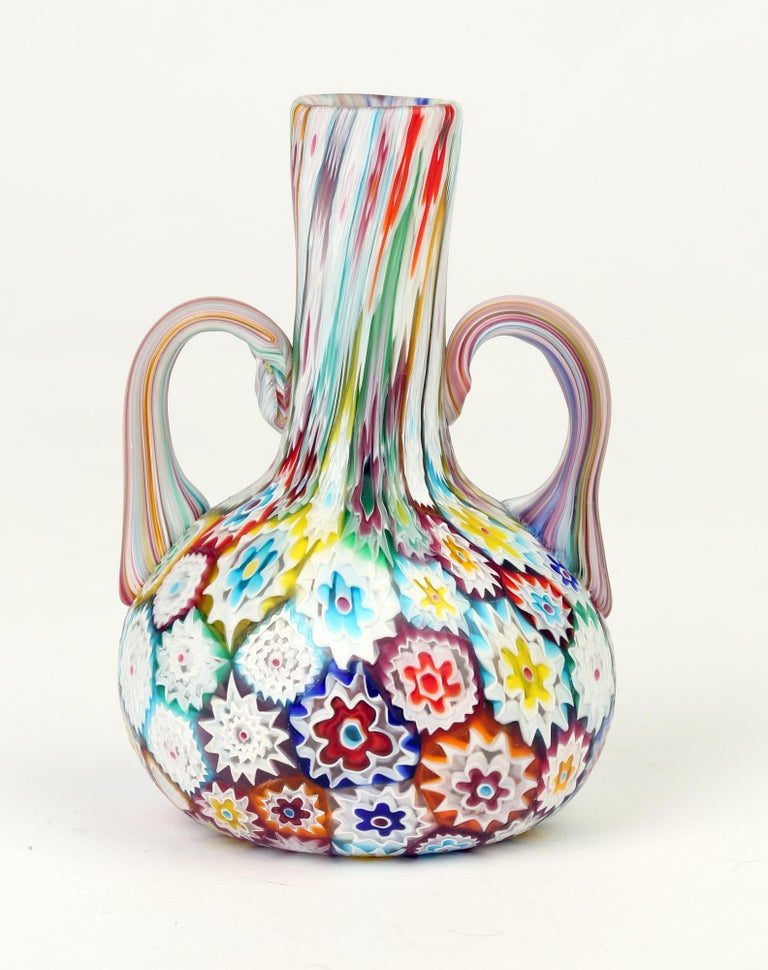 Blown Glass Murano Italian Hand Blown Twin Handled Bottle Shaped Millefiori Art Glass Vase For Sale