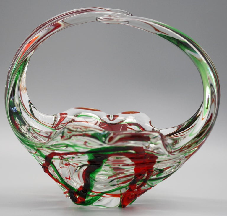 Murano Italian Midcentury Art Glass Bowl with Red and Green Trailed Designs For Sale 9