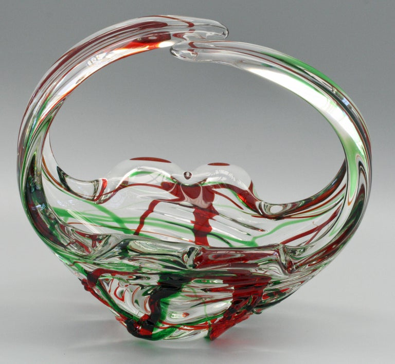 Murano Italian Midcentury Art Glass Bowl with Red and Green Trailed Designs For Sale 10