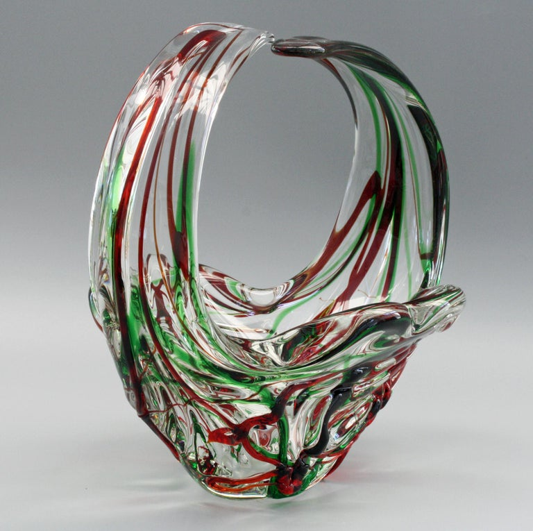 Murano Italian Midcentury Art Glass Bowl with Red and Green Trailed Designs For Sale 11