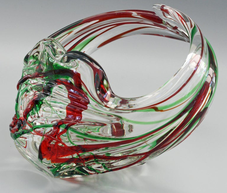 20th Century Murano Italian Midcentury Art Glass Bowl with Red and Green Trailed Designs For Sale