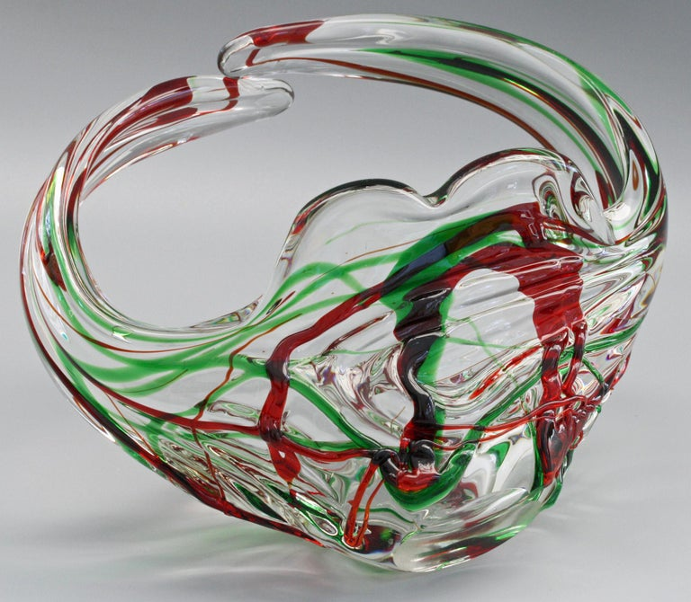 Murano Glass Murano Italian Midcentury Art Glass Bowl with Red and Green Trailed Designs For Sale