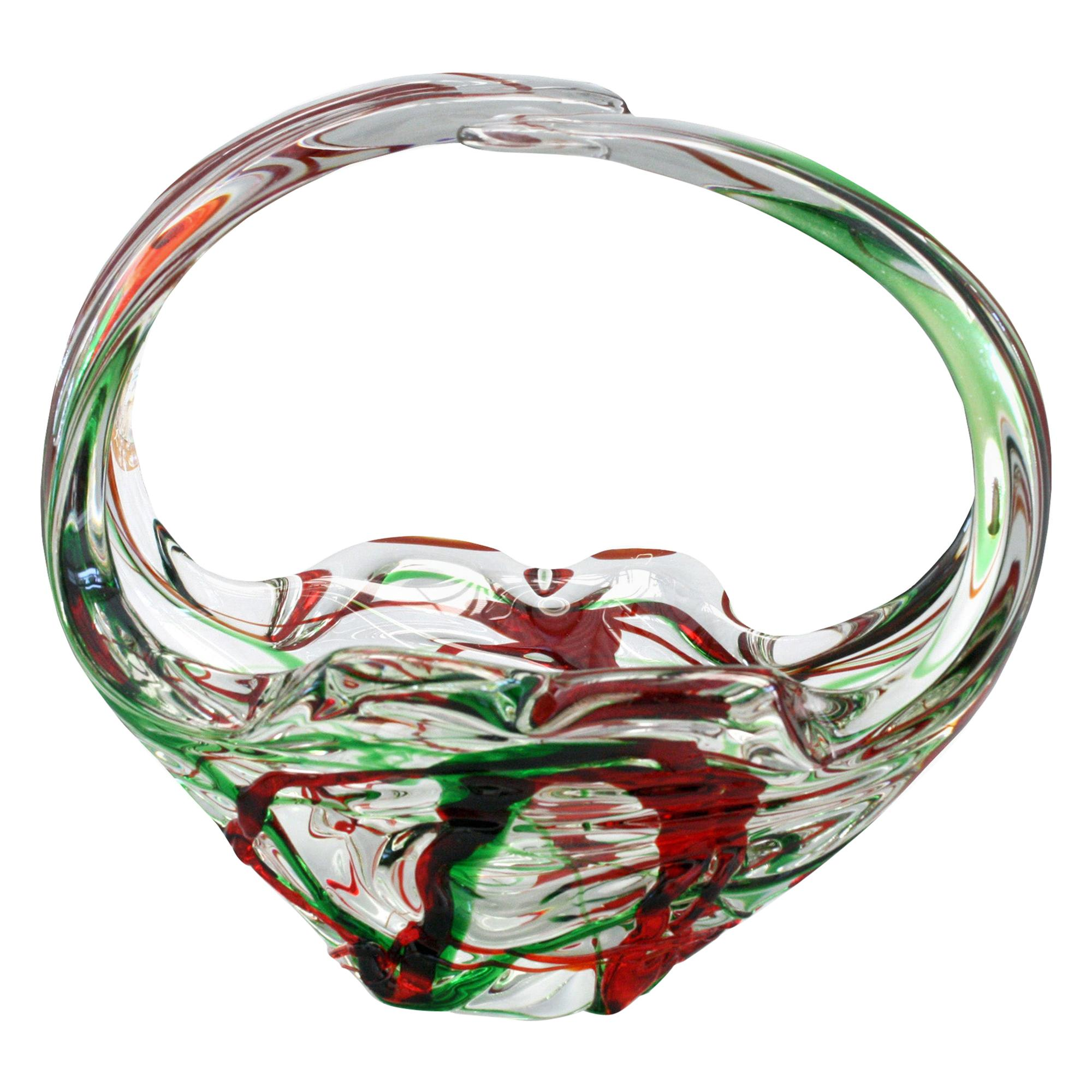 Murano Italian Midcentury Art Glass Bowl with Red and Green Trailed Designs