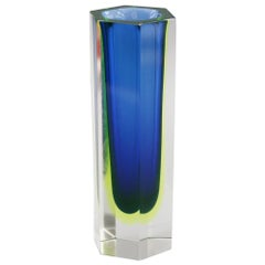 Murano Italian Sommerso Halo Blue and Uranium Hexagonal Cut Glass Vase