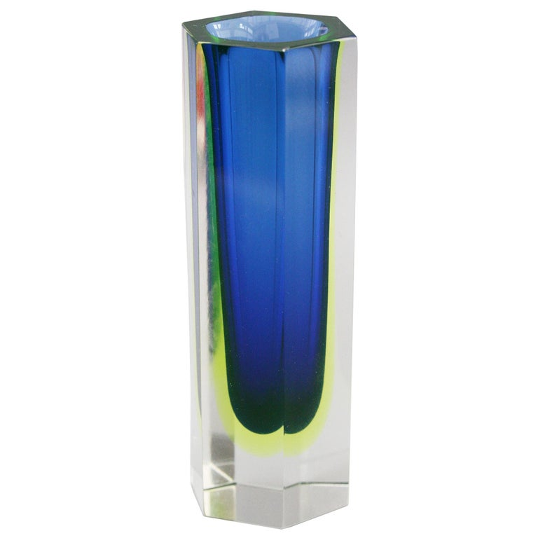 Murano Italian Sommerso Halo Blue and Uranium Hexagonal Cut Glass Vase For Sale