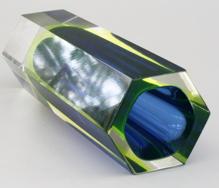 Mid-Century Modern Murano Italian Sommerso Halo Blue and Uranium Hexagonal Cut Glass Vase For Sale