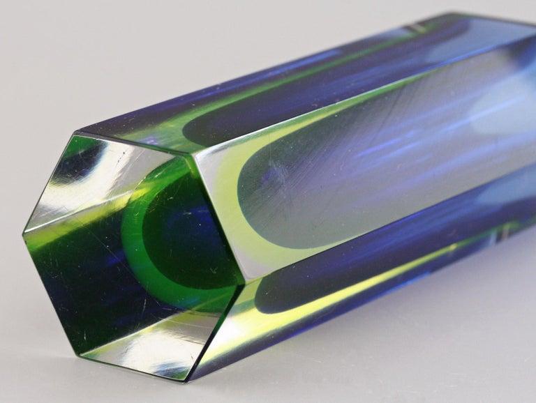 Mid-20th Century Murano Italian Sommerso Halo Blue and Uranium Hexagonal Cut Glass Vase For Sale