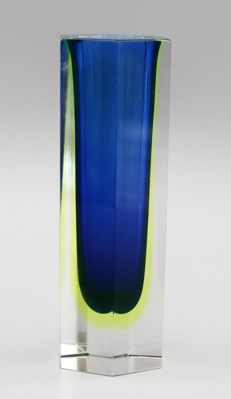 Murano Italian Sommerso Halo Blue and Uranium Hexagonal Cut Glass Vase For Sale 1