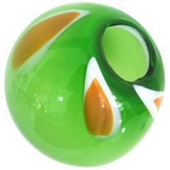Murano Italian Studio Glass Ball-Vase Hand Blown Late, 1970s