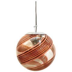 Murano Italy, 1970s Clear with Amber and Blush Spiral Globe Pendant