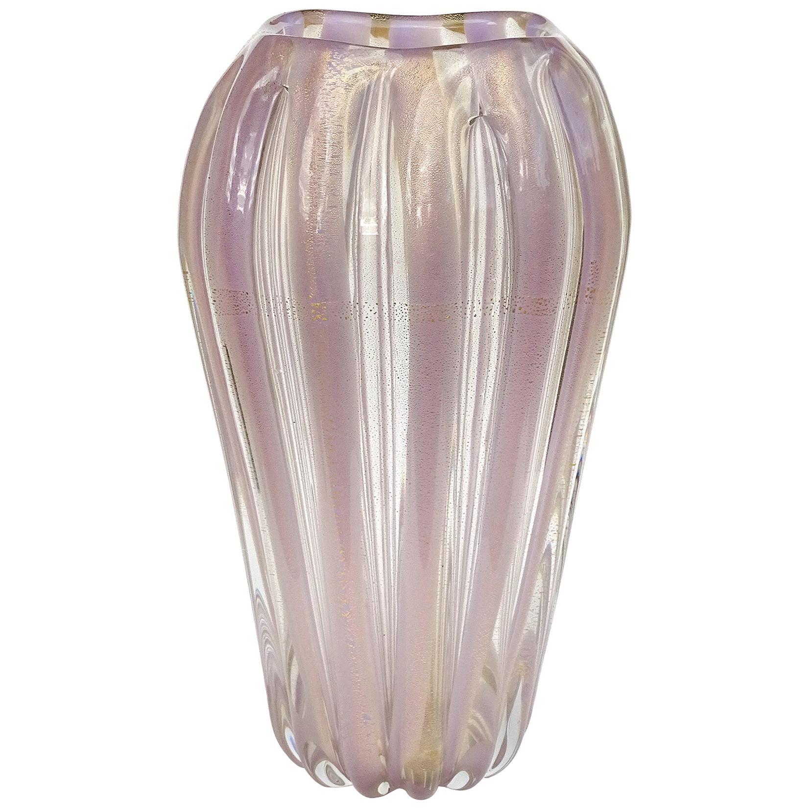 Murano Lavender Stripes Gold Flecks Italian Art Glass Midcentury Flower Vase