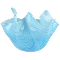 Murano Light Blue Pulled Feather Design Italian Art Glass Fazzoletto Vase