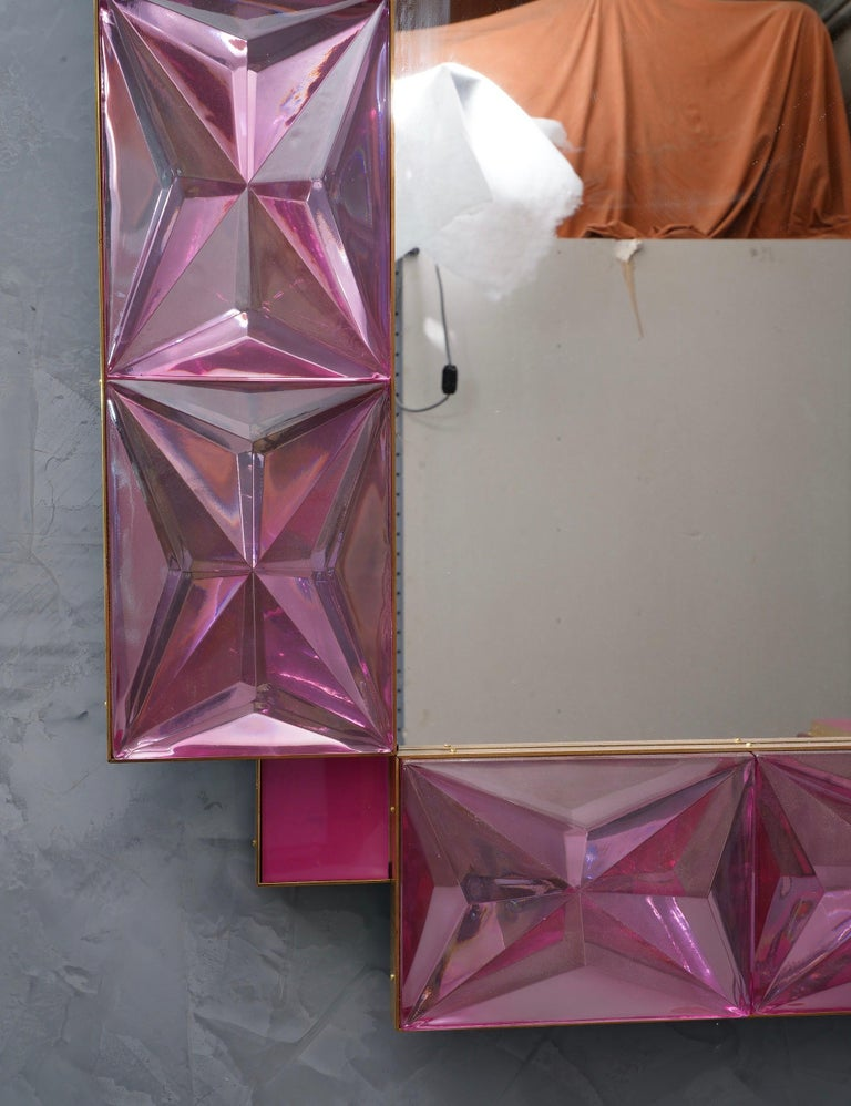 Murano Lively Pink Art Glass Italian Modern Wall Mirror, 2020 For Sale 4