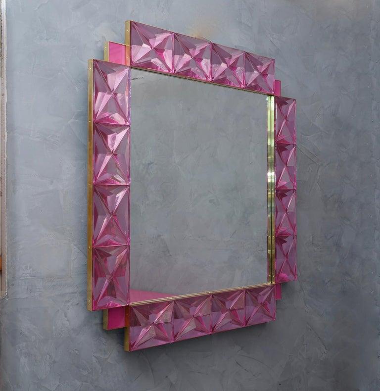 Mid-Century Modern Murano Lively Pink Art Glass Italian Modern Wall Mirror, 2020 For Sale