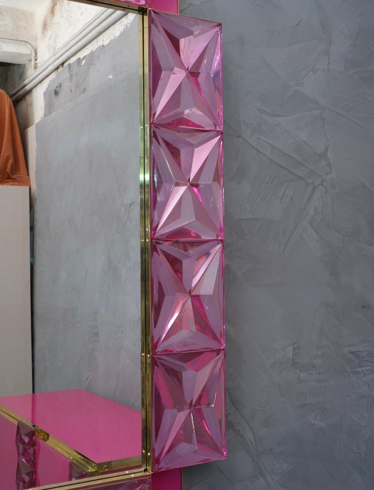 Murano Lively Pink Art Glass Italian Modern Wall Mirror, 2020 In Good Condition For Sale In Rome, IT