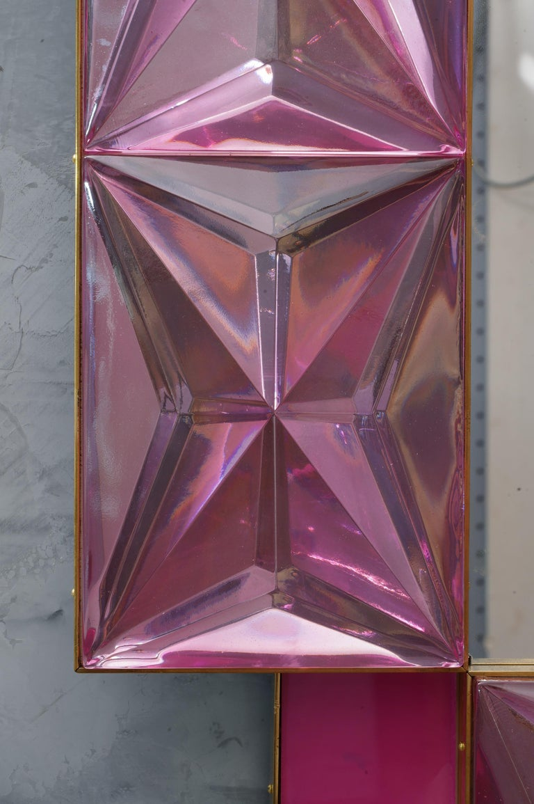 Contemporary Murano Lively Pink Art Glass Italian Modern Wall Mirror, 2020 For Sale