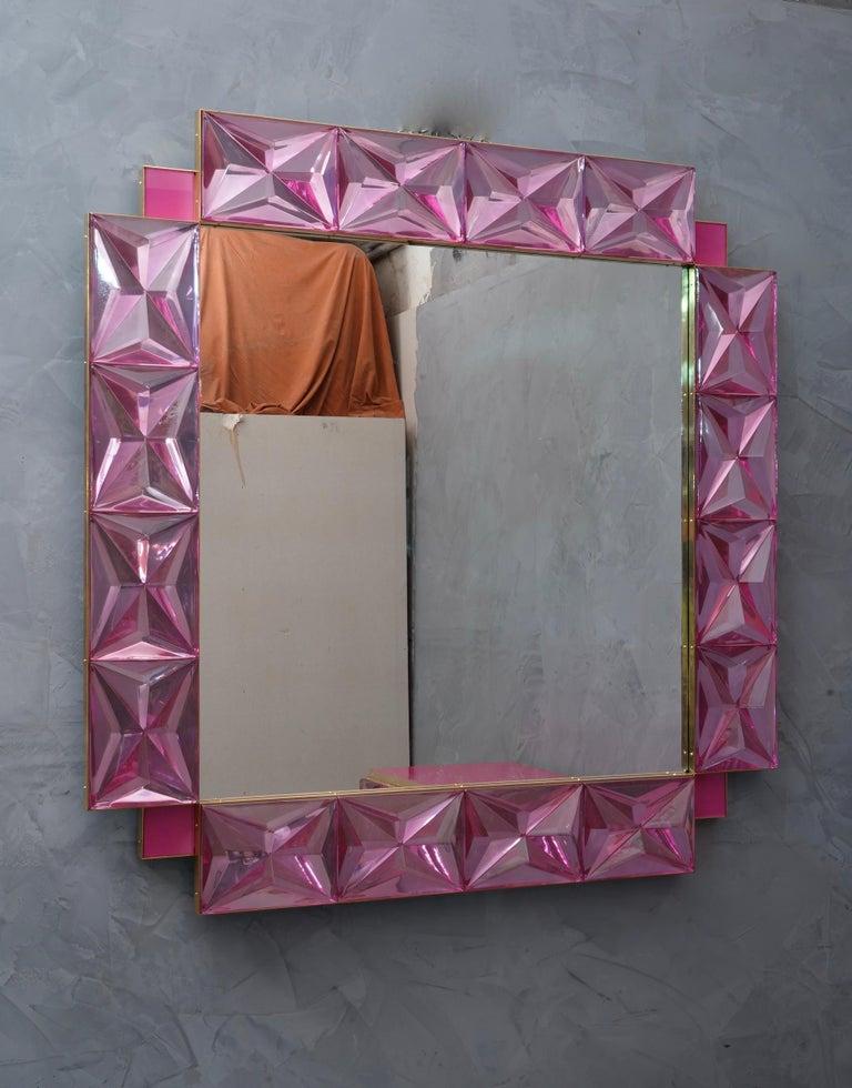 Brass Murano Lively Pink Art Glass Italian Modern Wall Mirror, 2020 For Sale