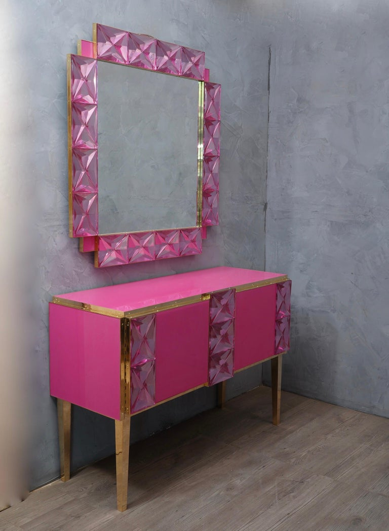 Murano Lively Pink Art Glass Italian Modern Wall Mirror, 2020 For Sale 1