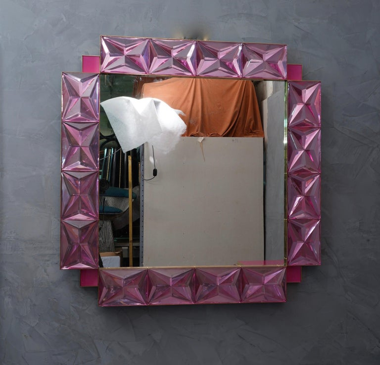 Murano Lively Pink Art Glass Italian Modern Wall Mirror, 2020 For Sale 2