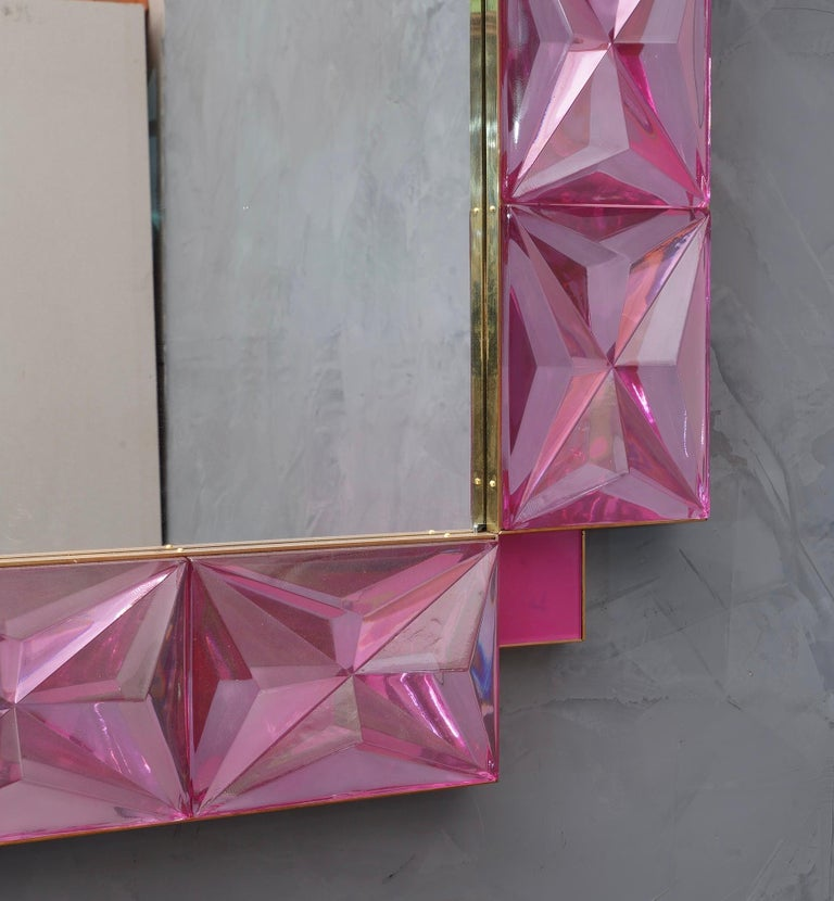 Murano Lively Pink Art Glass Italian Modern Wall Mirror, 2020 For Sale 3