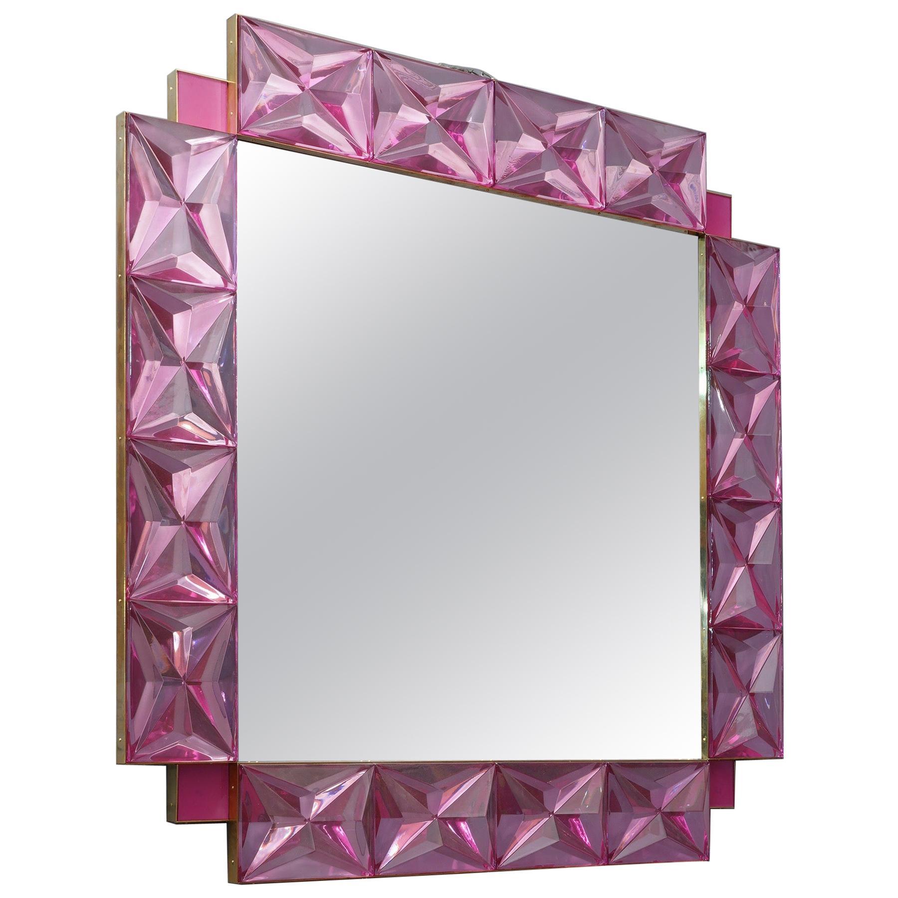 Murano Lively Pink Art Glass Italian Modern Wall Mirror, 2020