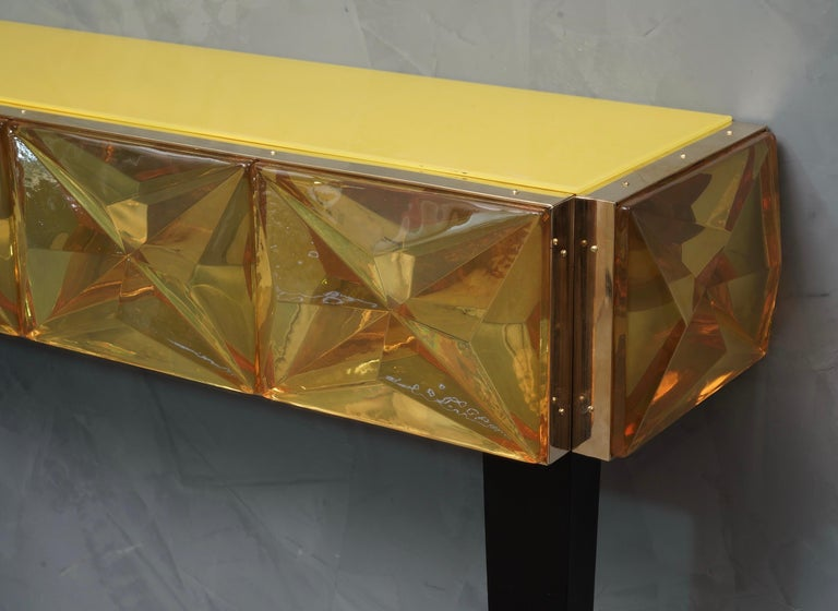 Mid-Century Modern Murano Lively yellow Art Glass Italian Modern Console, 2020 For Sale