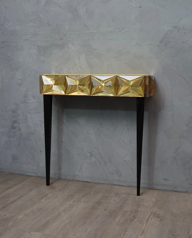 Murano Lively yellow Art Glass Italian Modern Console, 2020 In Good Condition For Sale In Rome, IT