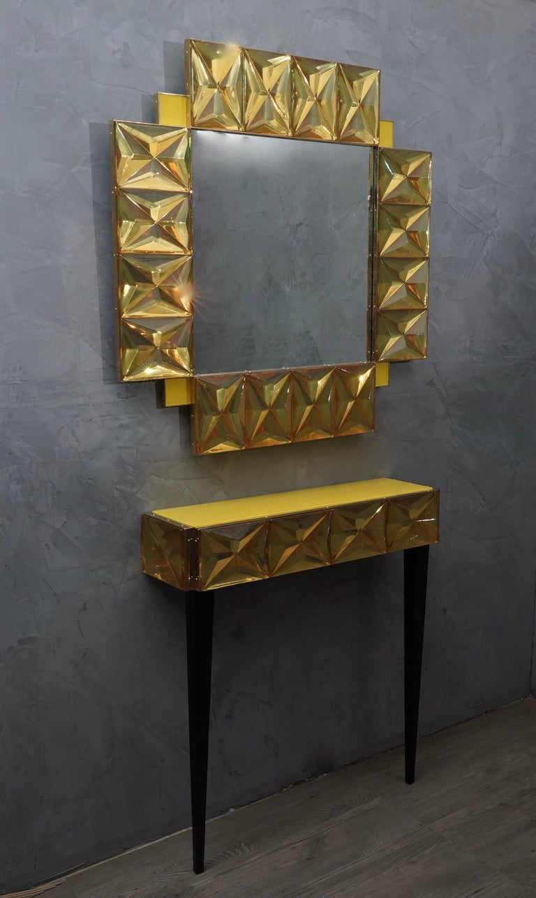 Contemporary Murano Lively yellow Art Glass Italian Modern Console, 2020 For Sale