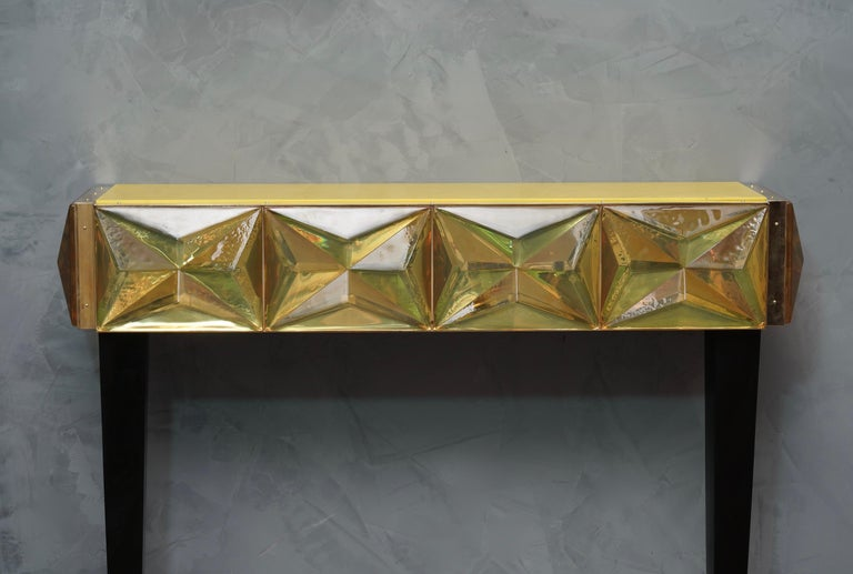 Brass Murano Lively yellow Art Glass Italian Modern Console, 2020 For Sale