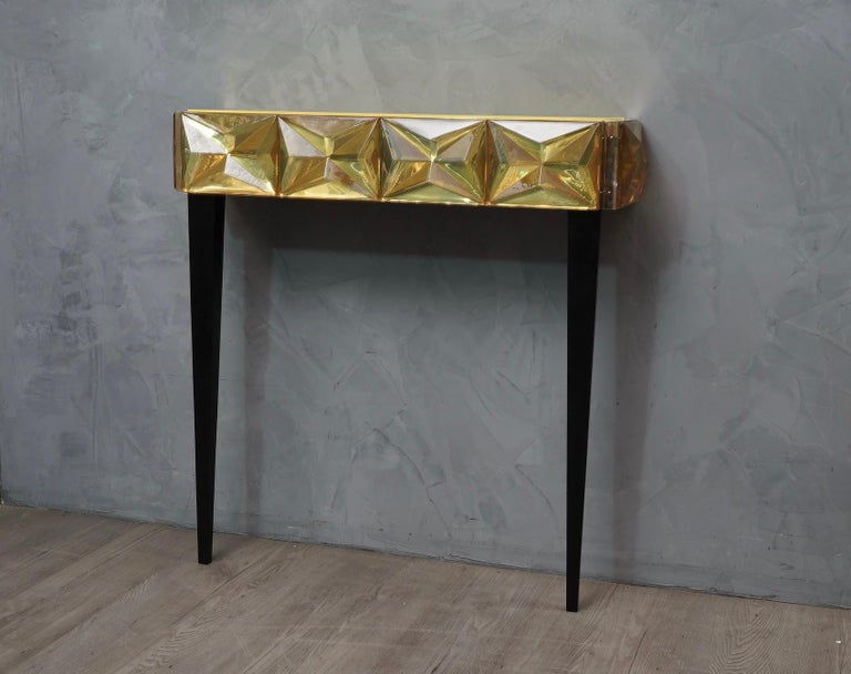 Murano Lively yellow Art Glass Italian Modern Console, 2020 For Sale 1