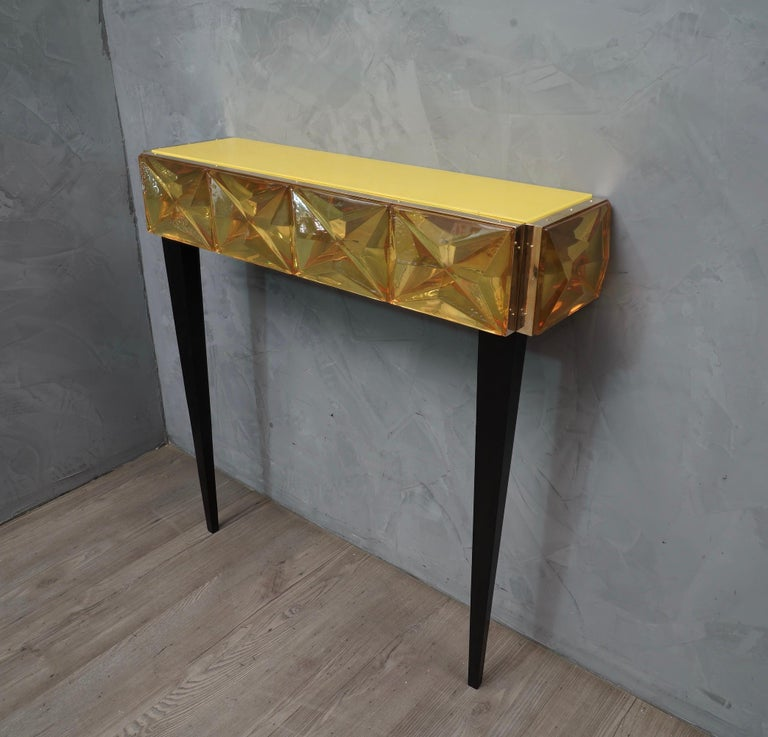 Murano Lively yellow Art Glass Italian Modern Console, 2020 For Sale 2
