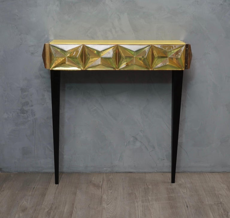 Murano Lively yellow Art Glass Italian Modern Console, 2020 For Sale 3